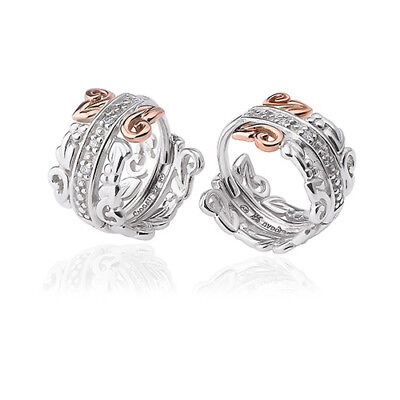 BRAND NEW Clogau Silver & Rose Gold Am Byth Creole Diamond Earrings £110 off!