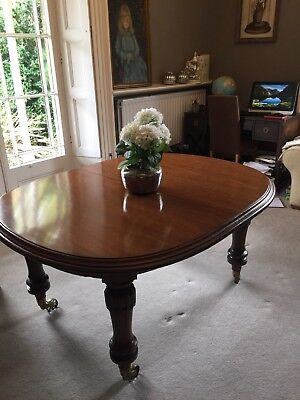 Dining table, Antique Victorian Mahogany on castors, extending, wind out Large.