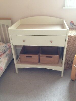 Solid baby changing table beech and painted cream with two solid storage boxes