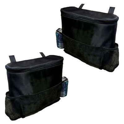 2x Car Back Seat Organisers with COOL BAG Insulated Travel Cold Drinks Packs Set
