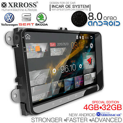 XRROSS VW SKODA SEAT Car audio radio player Android 8.0 GPS Navigation 9 inch