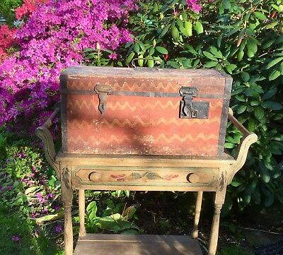 Antique Late 1700's - Early 1800's Painted Pine Chest Oxblood Red Swirled Paint