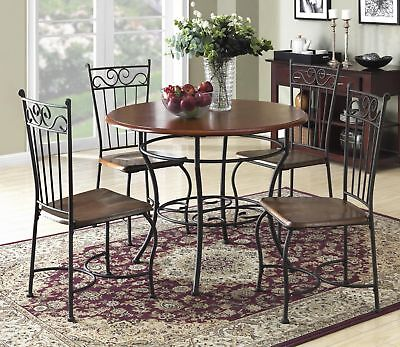 Wood And Metal Dinette Walnut/Black 5 Piece