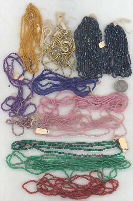 Lot of Antique Seed Bead Hanks: 12 Colors Some Metallic
