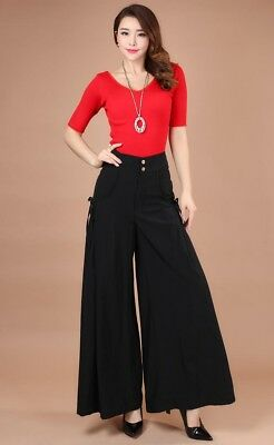 Womens Loose Wide Leg Long Pants Strappy Plain High Waist Trousers 8C