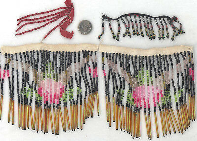 Lot of Antique Bead Fringe: Purse, Lamp Shade