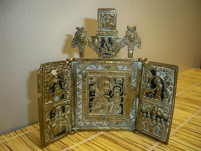 Vintage Triptych in Enameled Brass - Pseudo Russian/Soviet/USSR - Religious Icon