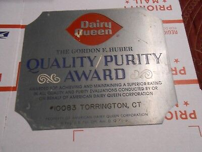 Vintage Dairy Queen Purity Award Medal Sign