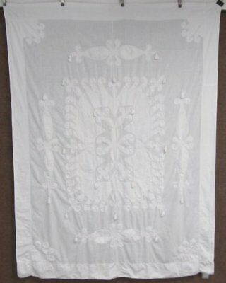 Antique 19th Century Applique Coverlet CANDLEWICK Tassel Fringed AMAZING Work