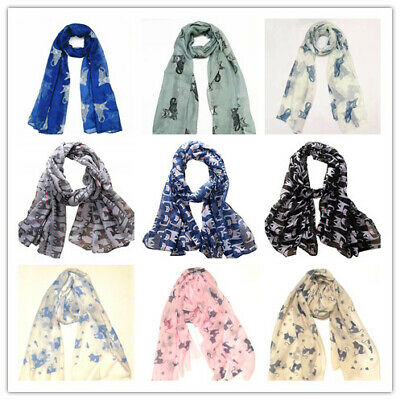 Women Animal Cat Print Scarf  Ladies Pattern Shawl fashion Girls Cute Gift