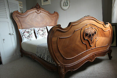 French antique Louis XV walnut bed