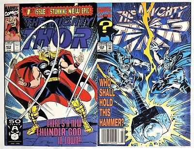 S208. THOR #433 & #459 Marvel 7.0 FN/VF (1990s) 1st App. ERIC MASTERSON as THOR>