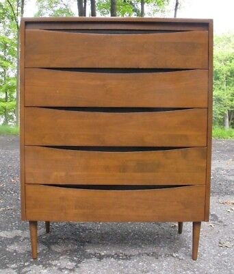 PAUL McCOBB MID CENTURY TALL DRESSER for CHILD CRAFT chest of drawers cabinet