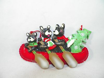 Family of 3 Bears in a Canoe with Tree Christmas Tree Ornament new holiday