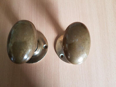Vintage Oval Brass Door Knob Reclaimed Door Handles
