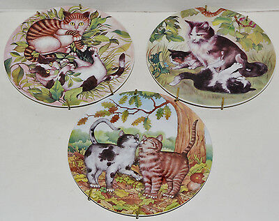Set of 3 Collector Plates Email de Limoges Cat Kitten Decorative