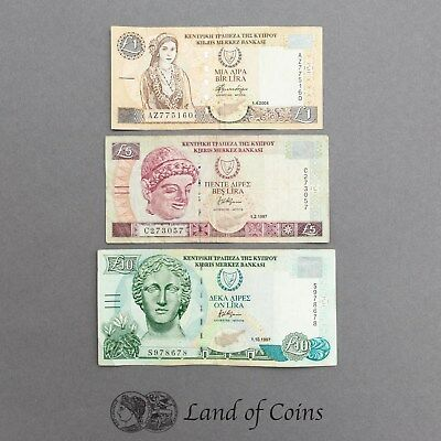 CYPRUS: Set of 3 Cypriot Pound Banknotes.