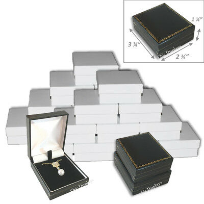 Lot Of (24) Faux Leather Pendant Box Large Earring Black Box Jewelry Gift Box