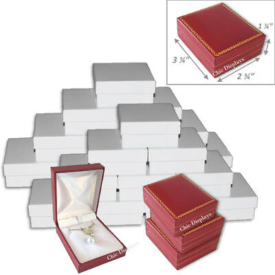 Lot Of (24) Pendant/ Large Earring Box Red Faux Leather Box Gift Box Jewelry Box