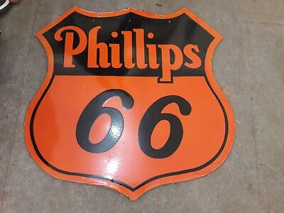 "Porcelain Phillips 66 Enamel Sign SIZE 30"" X 30"" INCHES"