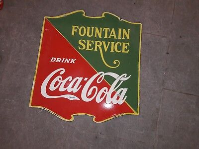 "Porcelain Coca Cola Fountain Service Enamel Sign SIZE 22.5"" X 25"" Inch 2 Sided"