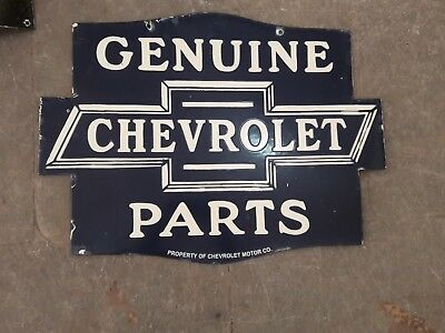 GENUINE CHEVROLET PARTS PORCELAIN ENAMEL SIGN 24X18 DOUBLE SIDED Pre-Owned