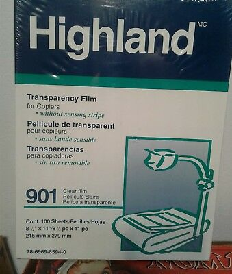 New Highland 901 Transparency Film for Copiers w/o Sensing Stripe - 100 Sheets