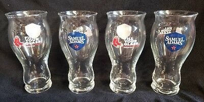 2018 Boston Red Sox & Samual Adams Logo 16oz Pint Beer Glass Set of 4