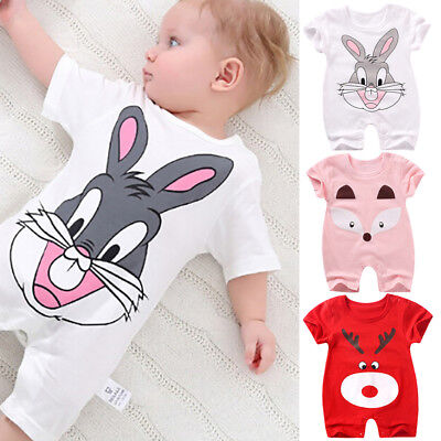 Newbornbaby girl boy cotton bodysuit rompers clothes cartoon jumpsuit outfit Gut