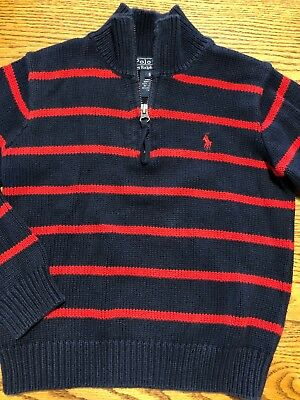 Polo, Ralph Lauren Boys Size 6 Navy, Red Striped 1/4 Zip Sweater