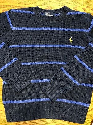Polo, Ralph Lauren Boys Size Small, Navy, Blue Striped Sweater