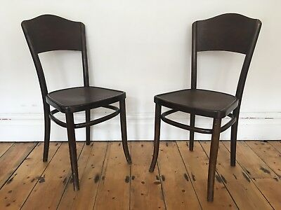 Vintage C 1920s Bentwood Bistro Kitchen Dining Chairs Ribbed Seats Thonet Mundus