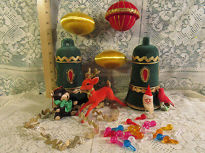 Vintage Christmas Decorations Lot Big Flocked Bells Reindeer Ceramic Tree Lights