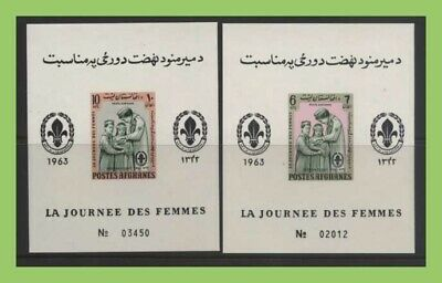 Afghanistan 1964 Womens Day, Scouts/Guides imperf miniature sheets, UM, MNH