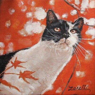 Tuxedo Cat Note Cards & Red Envs. SET 4 Boxed Blank Cards from Orig. Painting