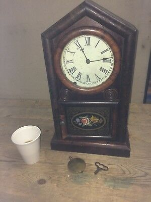 Vintage Clock Newhaven Working Mantle Glass Front
