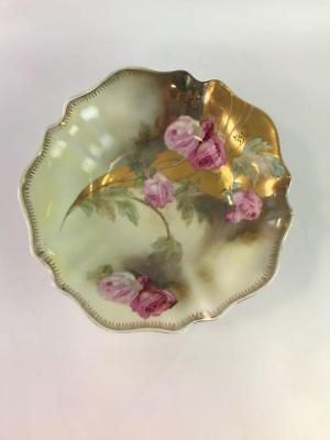"Antique  Wheelock Prussia Pink Rose &  Leaves 10.5""  Porcelain Bowl"