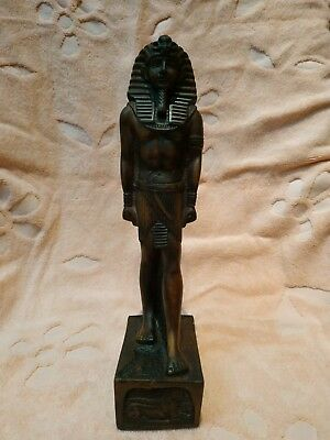 Unique Antique Egyptian Statue Tutankhamun  Stone Decor Carved Figure