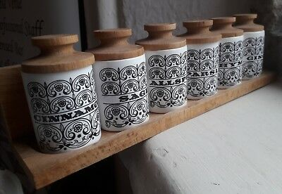 Hornsea Pottery Spice Rack 6× Wooden Toped White Pots 1960s early design