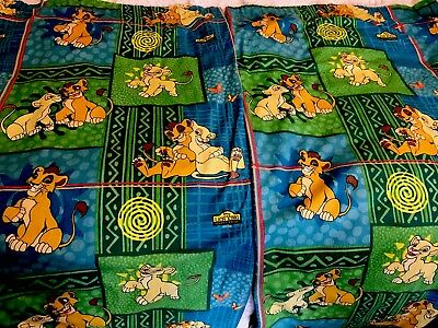 Vintage Disney Official 90's Lion King Lined Curtains 64wx52 L Inches - Fab Pair