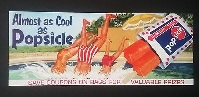 """popsicle Store Sign"" Original 1964 Advertising Display Great Image & Color"