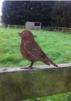 Rusty Metal Songbird Fence Post Topper / Bird Garden Ornament