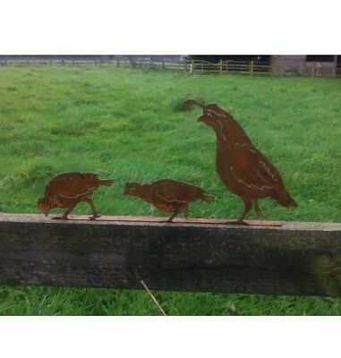 Stunning Rusty Metal Row of Quail Birds Garden Silhouette Ornament