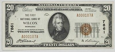 1929 Series $20 First National Bank Wilcox Ne Currency Note Ch Vf Pin Holes (107