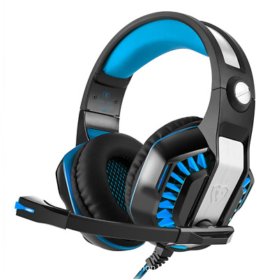 LED Light Gaming Headset Colorful Cracked Glowing Shock Headphones With Mic NEW
