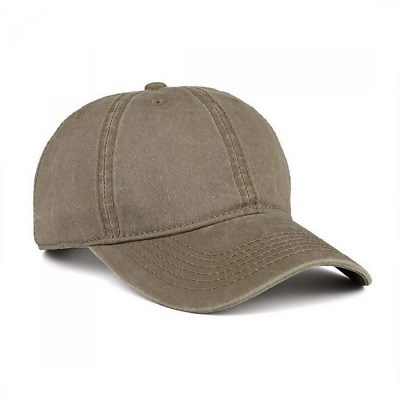 Baseball Cap Hat Low Profile Washed Brushed Twill Cotton Adjustable Khaki NEW US