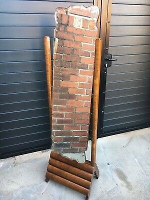 Art Deco Burr Walnut 1930s Full Length Walnut Mirror Stunning Original Rare!!