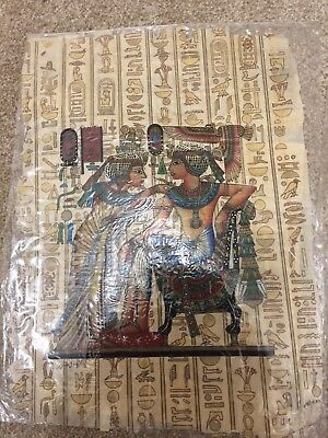 Egyptian papyrus paintings x 2