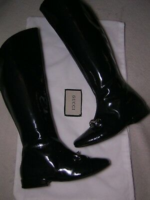 100% Authentic  GUCCI girls navy patent leather Horsebit knee boots size 27