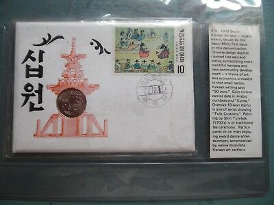 Korea 1972 First Day cover & rare 50 won coin